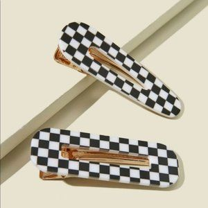 2 Pc. Checkered Hair Clips
